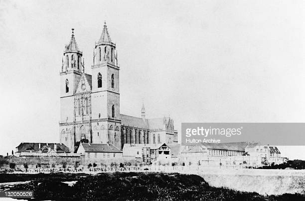 The Lutheran Cathedral of Magdeburg Magdeburg Germany circa 1860