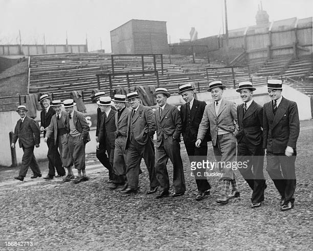 The Luton Town FC team parade on their home ground in their new straw boaters before leaving for Manchester to take on City in the Fourth Round of...