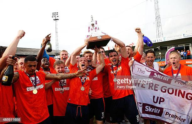 The Luton Town team celebrate with the trophy following the Skrill Conference Premier match between Luton Town and Forest Green at Kenilworth Road on...