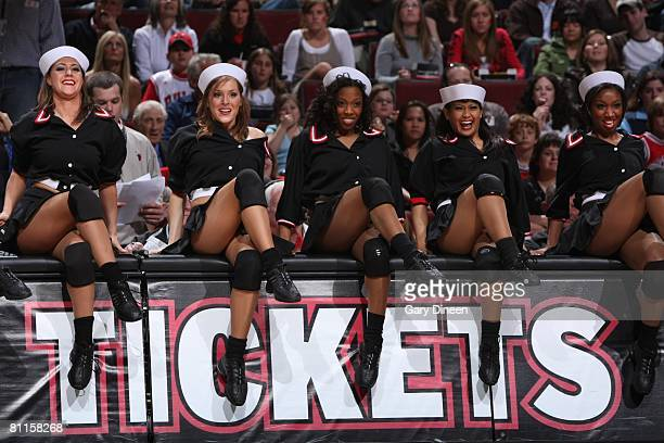 The Luvabulls dance team performs during the Chicago Bulls game against the Washington Wizards on April 5 2008 at the United Center in Chicago...