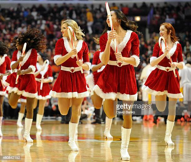 The Luvabulls perform during a timeout during the second half of a game between the Chicago Bulls and the Los Angeles Lakers on December 25 2014 at...