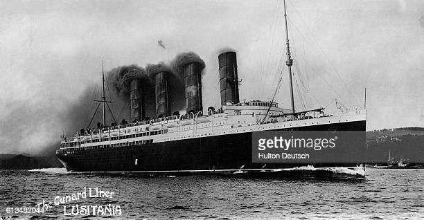 The luxurious British Cunard ocean liner Lusitania in the early 1900s She was destroyed by a German submarine's torpedo on May 7 an act which...