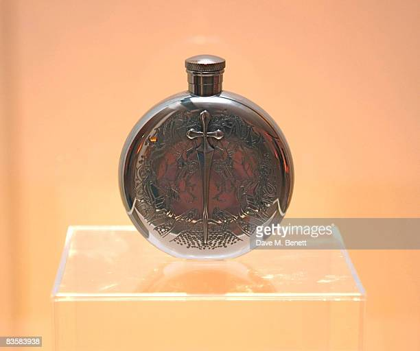 The luxury limited edition hip flask designed by Todd Lynn on display during the launch party for the Chivas Studio London hosted by Chivas Regal...