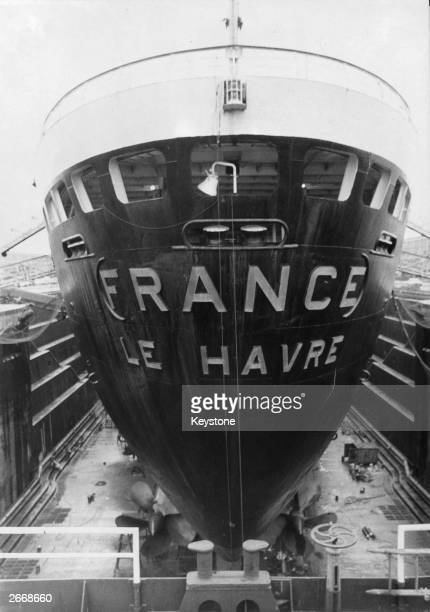 The luxury liner France a transatlantic vessel for the French line in dry dock at Le Havre for an engine refit and hull cleaning