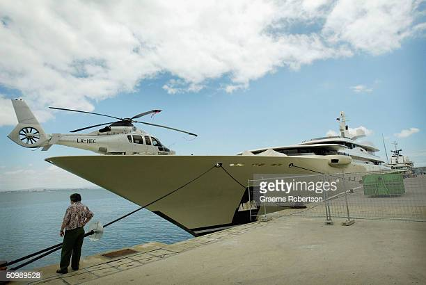 The luxury super-yacht, Pelorus, of Russian billionaire and football magnate Roamn Abramovich is seen June 23, 2004 in Lisbon harbour, Portugal. The...