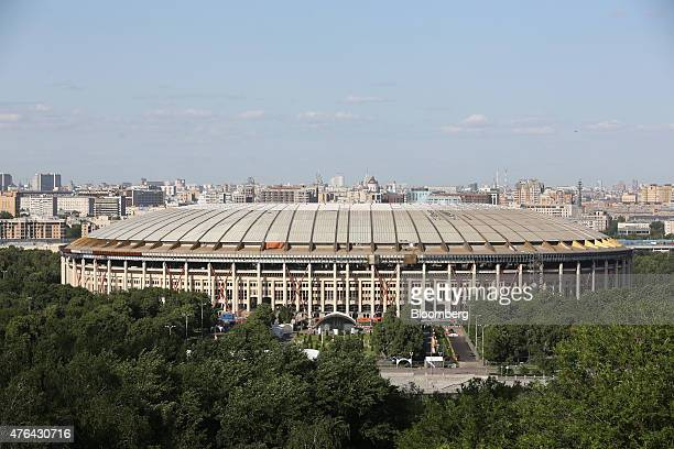 The Luzhniki sports stadium stands on the city skyline in Moscow Russia on Monday June 8 2015 Rents in Moscow's most coveted neighborhoods are...