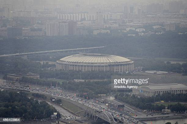 The Luzhniki Stadium is seen from the Moscow City business center in Moscow Russia on September2015
