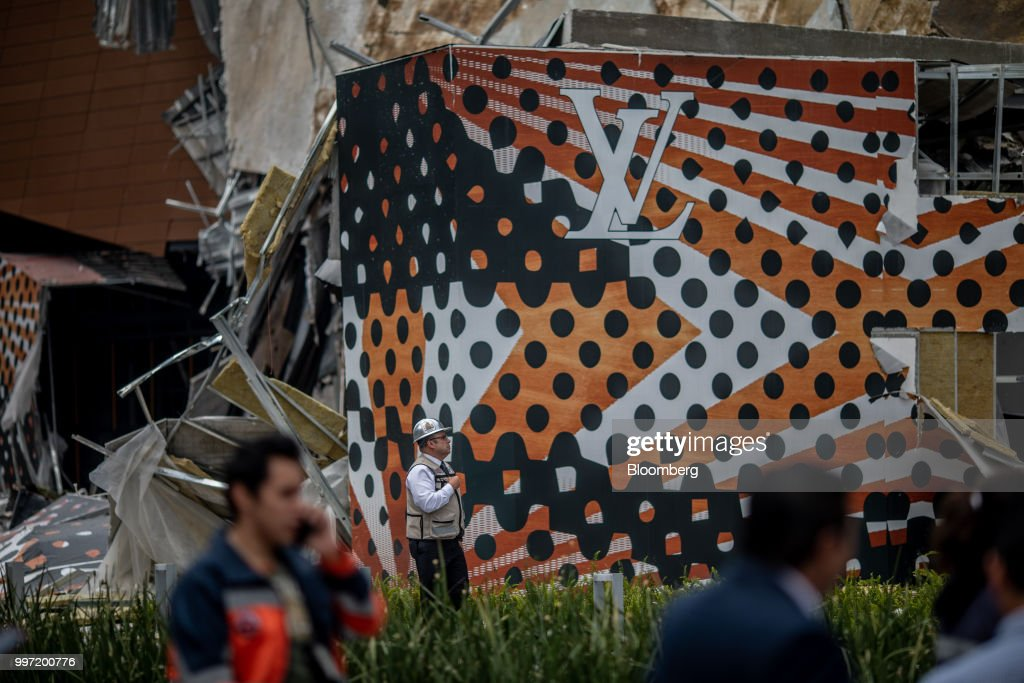 The LVMH Moet Hennessy Louis Vuitton Se store is seen in the collapsed section of the Artz Pedregal shopping mall in Mexico City, Mexico, on Thursday, July 12, 2018. A section of the high-end fashionmallinaugurated a mere three months ago collapsed Thursday afternoon in Mexico City. Photographer: Alejandro Cegarra/Bloomberg via Getty Images