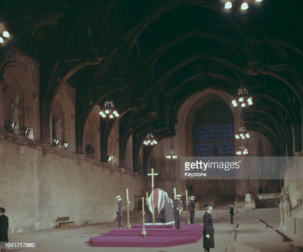 The lying-in-state of former Prime Minister Winston Churchill in Westminster Hall, London, January 1965.