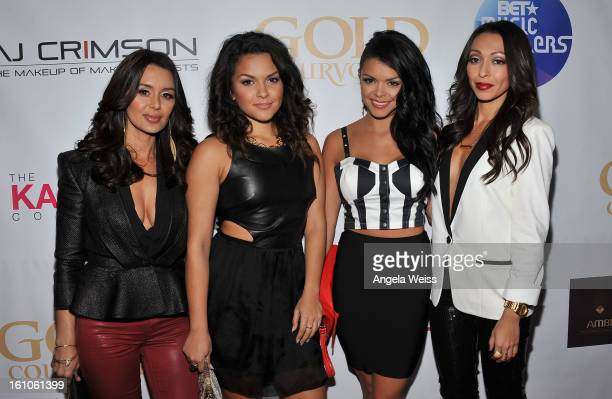 """The Lylas arrive at BET Network's Music Matters Showcase """"Lipstick On The Mic"""" at Belasco Theatre on February 8, 2013 in Los Angeles, California."""