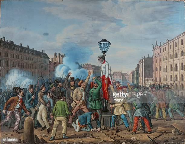 The lynching of Graf Latour during the revolution on october 6 th 1848 Watercolour [Aufgebrachte Massen lynchen den kaiserlichen Kriegsminister Graf...