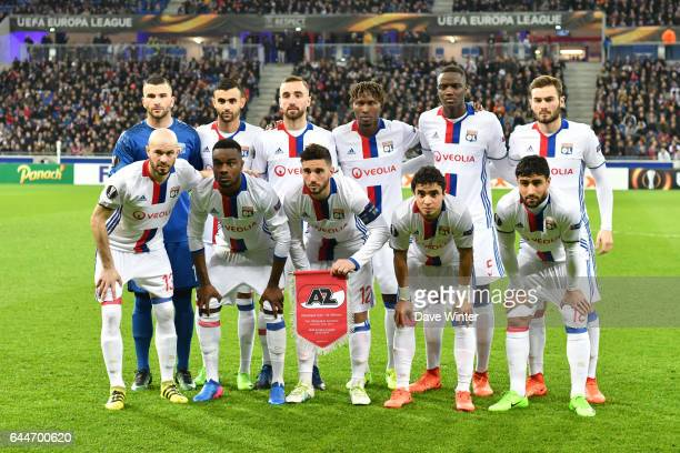 The Lyon team line up before the Europa League match between Olympique Lyonnais and AZ Alkmaar at Stade des Lumieres on February 23 2017 in...