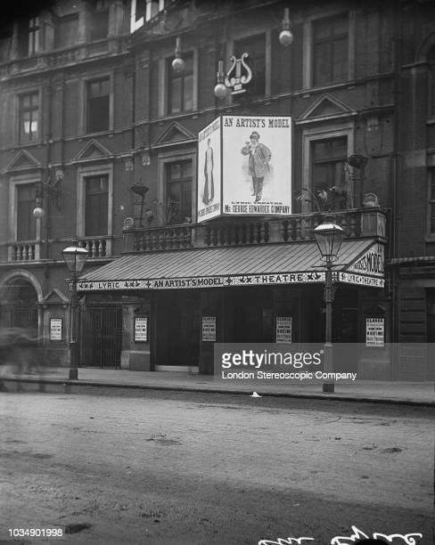 The Lyric Theatre on Shaftesbury Avenue London August 1895 Signs advertise a George Edwardes production of the musical 'An Artist's Model' by Owen...