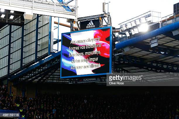 The lyrics of the La Marseillaise is displayed during the French national anthem prior to the Barclays Premier League match between Chelsea and...