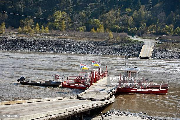 The Lytton cable ferry crossing the Fraser River, North of Lytton