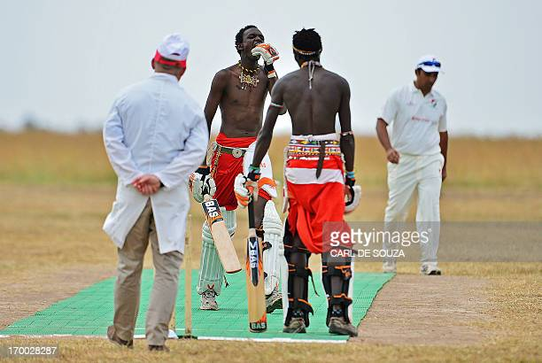 The Maasai Warriors cricket team play a Twenty twenty match against international cricket team the Abassadors in Ol Pejeta conservency in Laikipia...