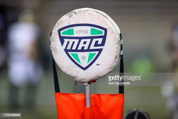The MAC logo on a first down marker during the first quarter of the college football game between the Western Michigan Broncos and Akron Zips on...