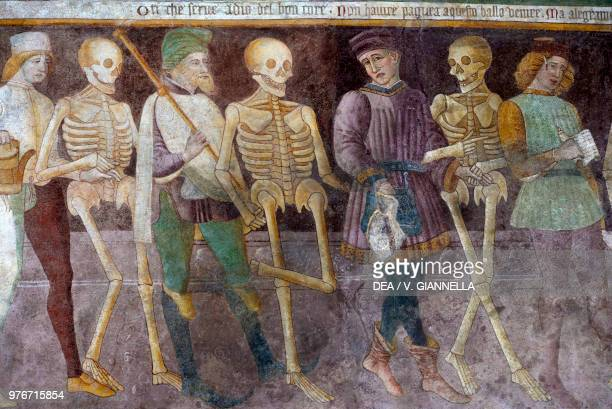 The macabre dance 14841485 fresco by Giacomo Borlone Disciplines Oratory Clusone Lombardy Italy 15th century