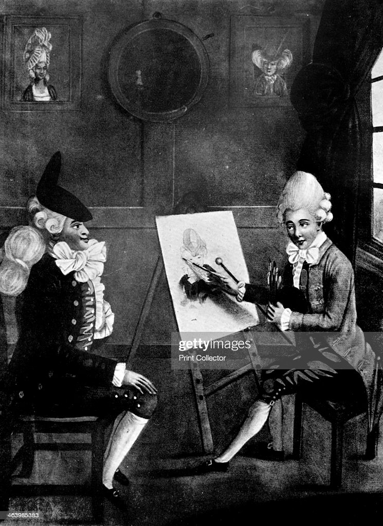 'The Macaroni Painter, or Billy Dimple sitting for his picture', 1770. Artist: Robert Dighton : News Photo