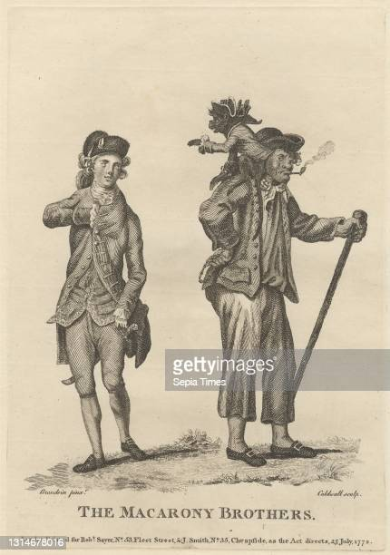 The Macarony Brothers, Print made by James Caldwall, 1739–1819, British, after Michel Vincent Brandoin, 1733–1807, Swiss, Published by Robert Sayer,...