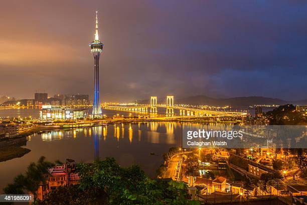The Macau Tower seen from a vantage point at Penha Chapel is lit up blue for Autism Awareness and Autism Speaks on April 2 2014 in Macau Macau