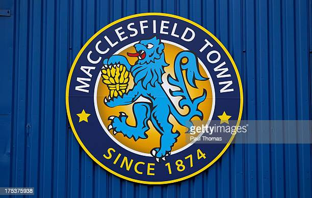 The Macclesfield Town logo is seen displayed on the side of the main stand before the Pre Season Friendly match between Macclesfield Town and Stoke...