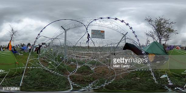 The Macedonian Greek border fence at the Idomeni refugee camp is seen on March 15 2016 in Idomeni Greece The decision by Macedonia to close its...