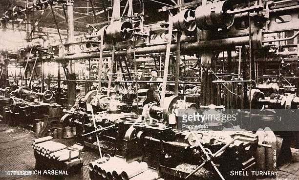 The machinery inside the Woolwich Arsenal munitions factory in London producing shells for the British Army during World War One circa 1914