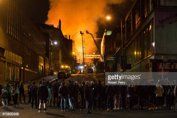 The Mackintosh Building at the Glasgow School Of Art is ablaze for the second time in four years on June 16 2018 in Glasgow Scotland In May 2014 it...