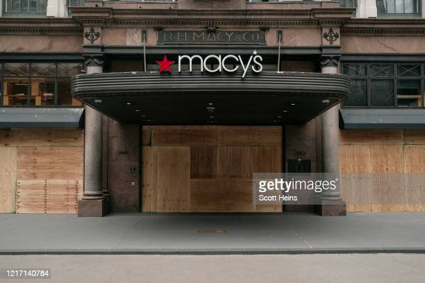 The Macy's flagship store is seen boarded up after a night of violent protests and looting in Midtown Manhattan on June 2 2020 in New York City In...