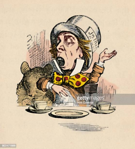 The Mad Hatter' 1889 Lewis Carroll's 'Alice in Wonderland' as illustrated by John Tenniel From Alice's Adventures in Wonderland by Lewis Carroll...
