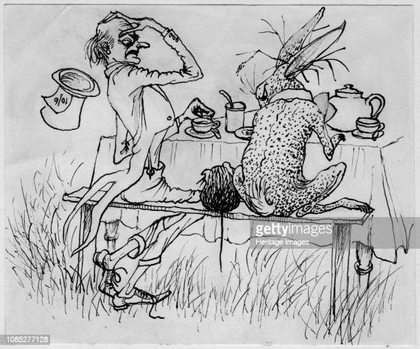 The Mad Hatter and the Hare 1953 Illustration for Alice in Wonderland by Lewis Carroll Artist Shirley Markham