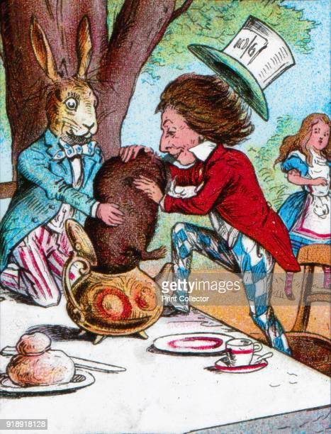 'The Mad Hatter and the March Hare trying to put the Dormouse into a teapot' c1910 From Alice in Wonderland by Lewis Carroll [W Butcher Sons London...