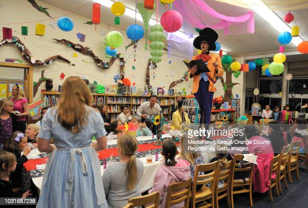 USA The Mad Hatter welcomes students to Kettering elementary School on October 19 2010 The school's PTA hosted The Mad Hatter's Tea Party in the...