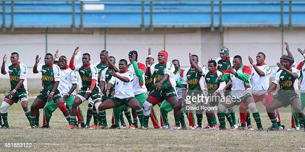 The Madagascar team perform their Haka during the Rugby World Cup 2015 qualifying match between Madagascar and Namibia at the Mahamasina Stadium on...