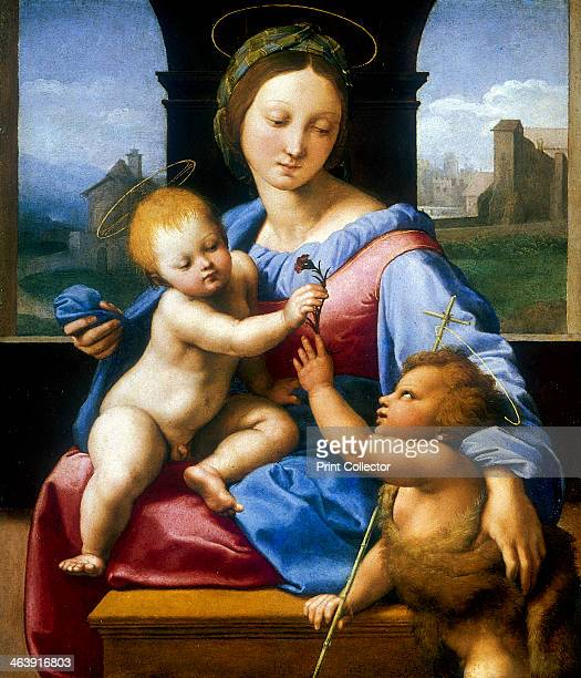 'The Madonna and Child with the Infant Baptist' c15091510 Jesus takes a pink from the hand of John the Baptist clothed in an animal skin From the...