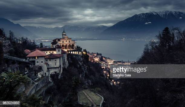 the madonna del sasso church in locarno, switzerland - ticino canton stock pictures, royalty-free photos & images