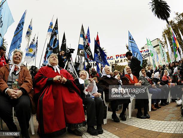 The Madres de Plaza de Mayo headed by its president Hebe de Bonafini attend a rally in Buenos Aires on June 2 in which thousands of people from...