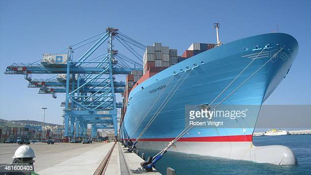 The Maersk Line container ship Eugen Maersk - then one of the world's biggest container ships - is loaded at APM Terminals Tangier, near the...