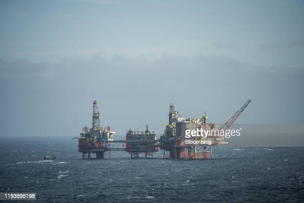 The Maersk Reacher rig, operated by Maersk Drilling Services A/S, stands in the Valhall field in the North Sea off the coast of Stavanger, Norway, on...