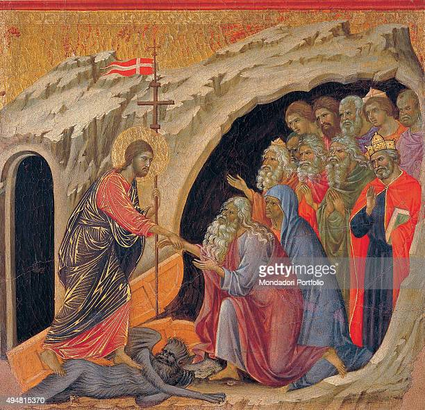 The Maestà front by Duccio di Buoninsegna 1308 1311 14th Century tempera on panel Italy Tuscany Siena Cathedral Back upper fascia detail sixth panel...