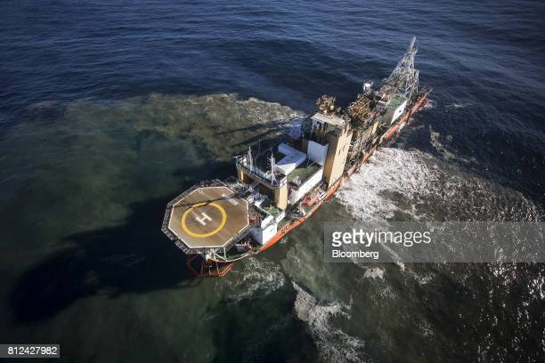 The Mafuta diamond mining vessel operated by Debmarine Namibia a joint venture between De Beers and the Namibian government searches for diamonds...