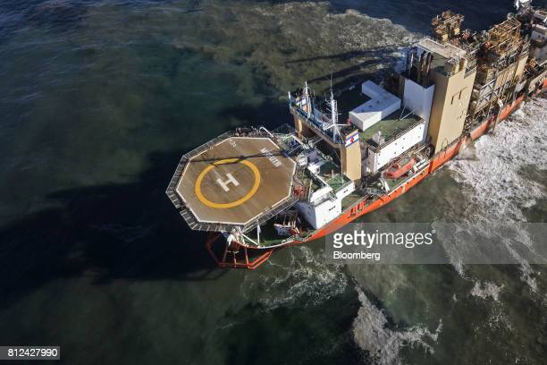 The Mafuta diamond mining vessel operated by Debmarine Namibia a joint venture between De Beers and the Namibian government uses a 'crawler' device...