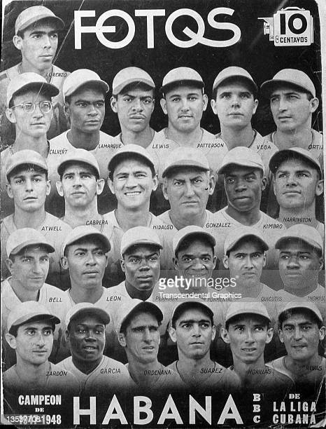 The magazine Fotos features players on the Havana team from the professional league with players in portraits on the cover Negro League stars Lennox...