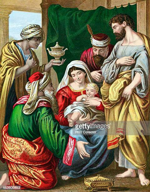 The Magi presenting their gifts to the infant Jesus c1860 They are making their symbolic offerings of Gold for royalty Frankincense for divinity and...