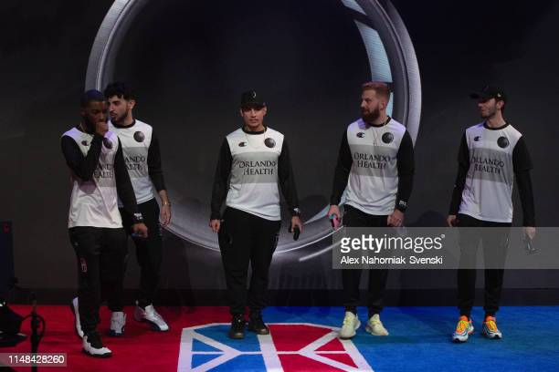 The Magic Gaming makes their entrance before the game against Heat Check Gaming during Week 8 of the NBA 2K League regular season on June 6 2019 at...