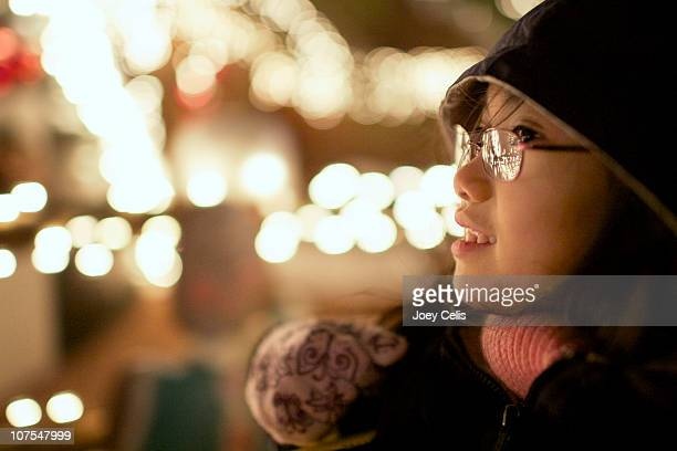 the magic of holiday lights - las vegas girls stock photos and pictures