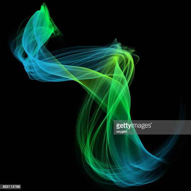 The magical form of blue green smoke. Abstract background