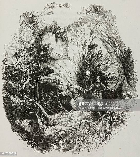 The magician Ismeno leading Suleiman into a cave on the slopes of Mount Zion illustration from The Liberation of Jerusalem by Torquato Tasso canto X...