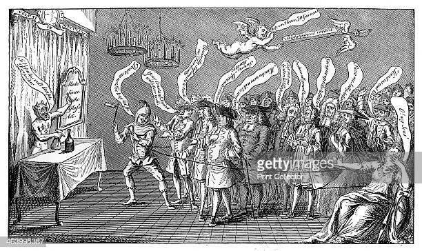 'The Magician or Bottle Cungerer English Credulity or Ye're all Bottled' 1749 Illustration from Social Caricature in the Eighteenth Century With over...